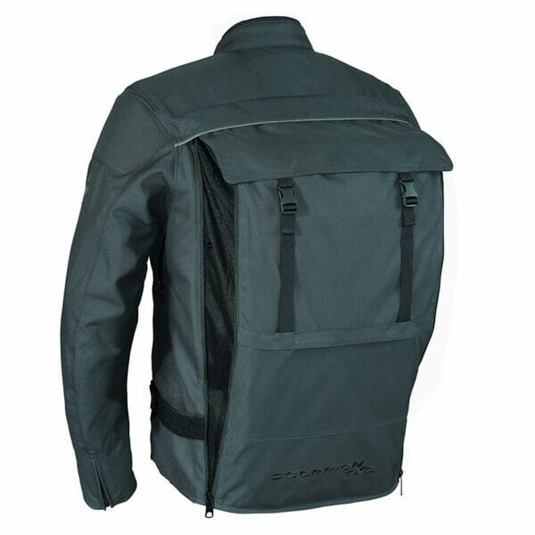 The StealthPack jacket from Scorpion Sports USA is a windproof, water-resistant armored textile jacket with a hidden, integrated backpack.