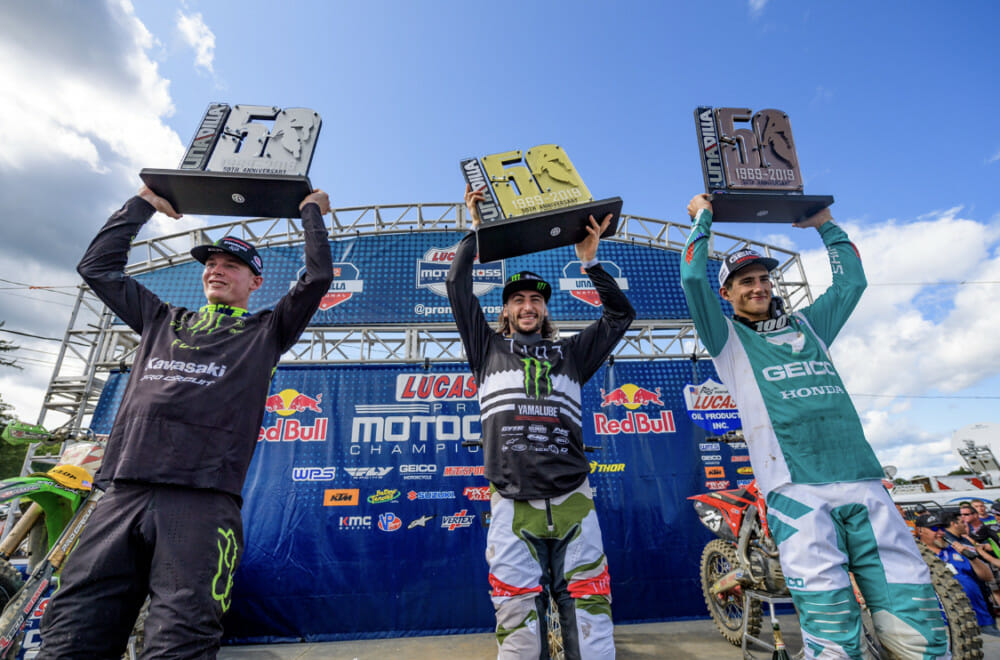 Round 10 of the 2019 AMA Pro Motocross Championship returned after a weekend off for the 50th Anniversary of Unadilla motocross with Monster Energy®/Pro Circuit/Kawasaki rider Adam Cianciarulo adding another podium finish to his resume with a second-place overall after finishing 1-2 for the day and maintained a 28-point lead in the 250 class standings