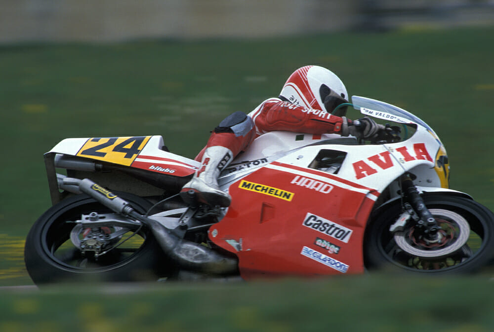 Vittorio Scatola takes the 500cc Paton to victory at Misano in the 1989 European 500cc Championship.