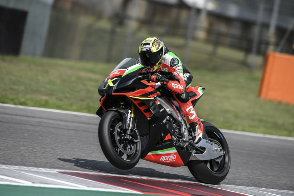 Deliveries of 10 Limited-Edition Aprilia RSV4 X Models Begin: Max Biaggi rides his Aprilia RSV4 X at Mugello track immediately