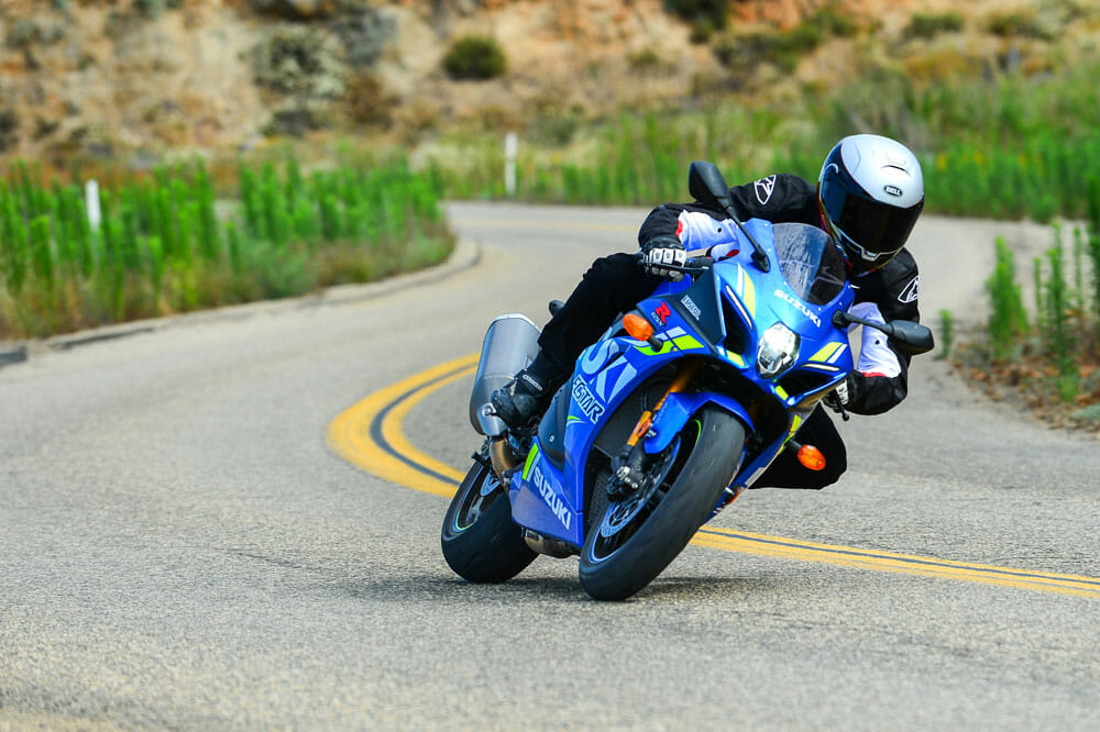 The 2018 Suzuki GSX-R1000R carving the canyons.
