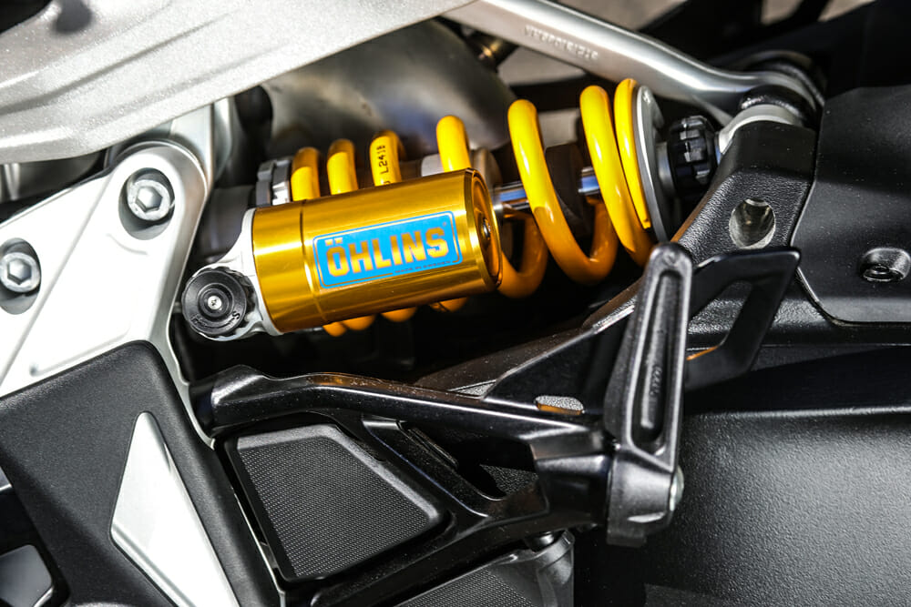 Öhlins provides conventionally adjustable suspension for the 2019 Ducati Diavel 1260 S
