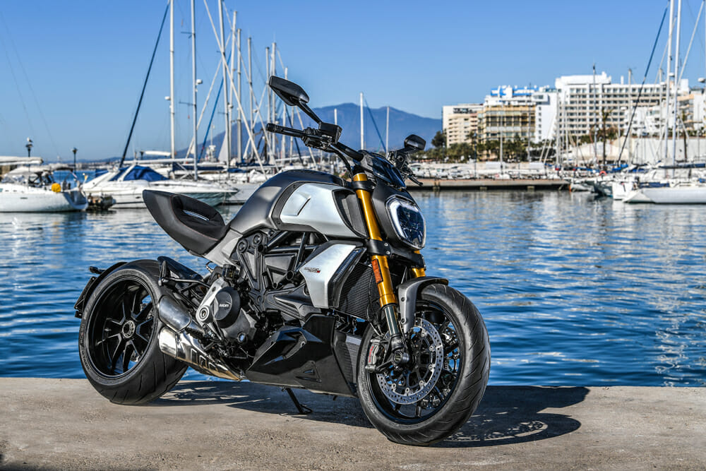 The 2019 Ducati Diavel 1260 S in Sandstone Grey with Charcoal Black frame.