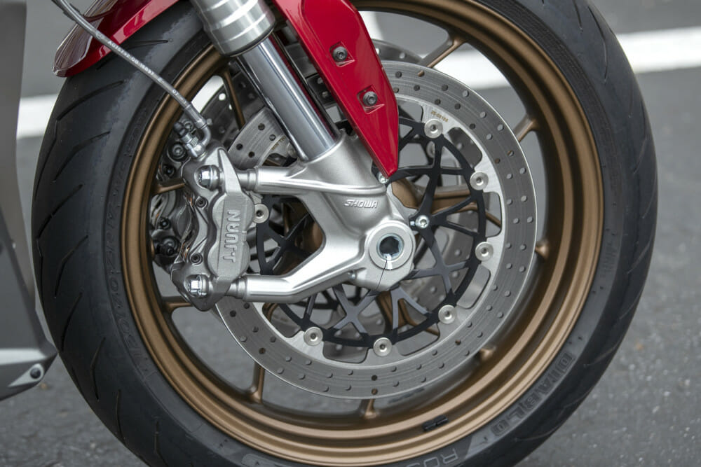 The four-piston J. Juan calipers on the2019 Zero SR/F are impressive in their performance.