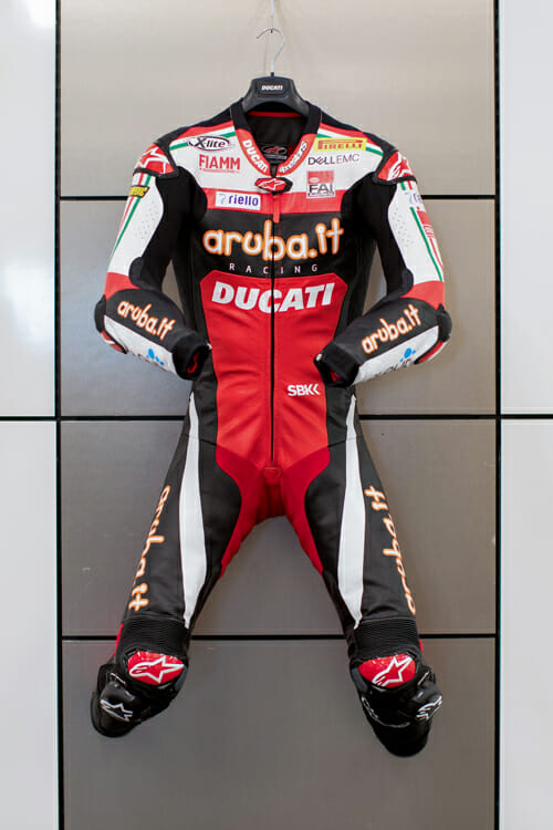 Chaz Davies' racing leathers with commemorative livery from WeatherTech Raceway Laguna Seca World Superbike, part of Ducati auction for Carlin Dunne Foundation.