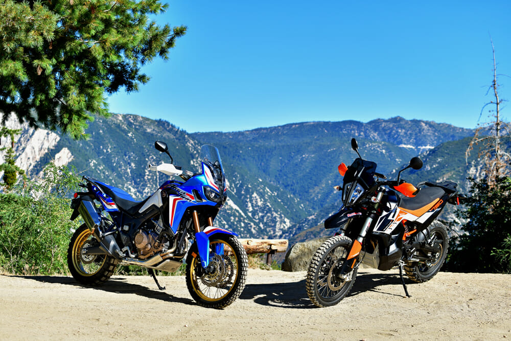 Cycle News compares w the two top adventure motorcycles on the market today: the Honda Africa Twin and the KTM 790 Adventure R.