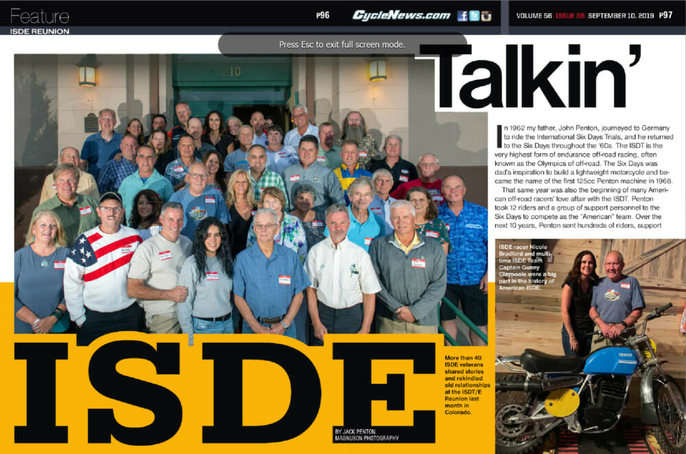 More than 40 ISDE veterans shared stories and rekindled old relationships at the ISDT/E Reunion last month in Colorado.