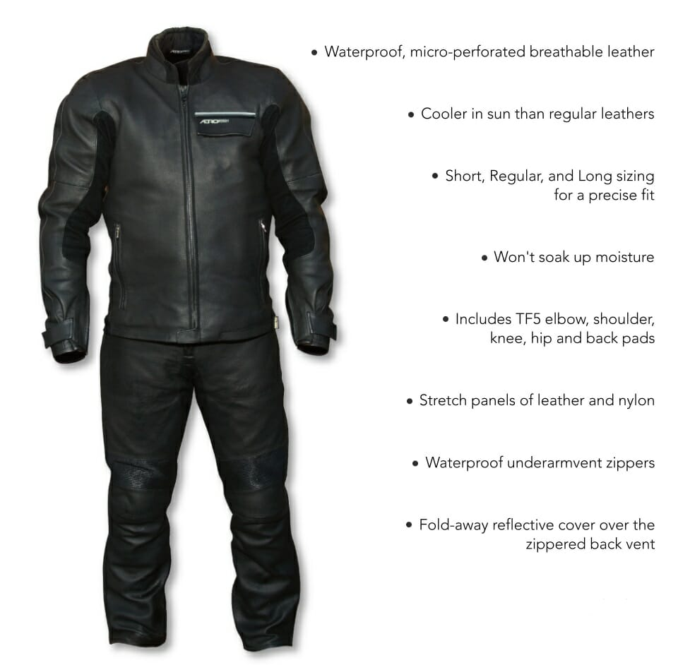 Aerostich's waterproof/breathable/seam-sealed all-leather Transit suit is back