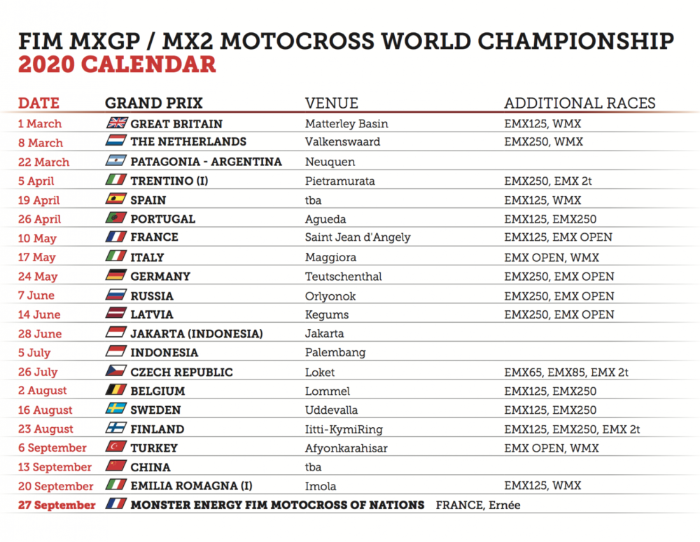 Youthstream has released the 2020 FIM Motocross World Championship Official Calendar.