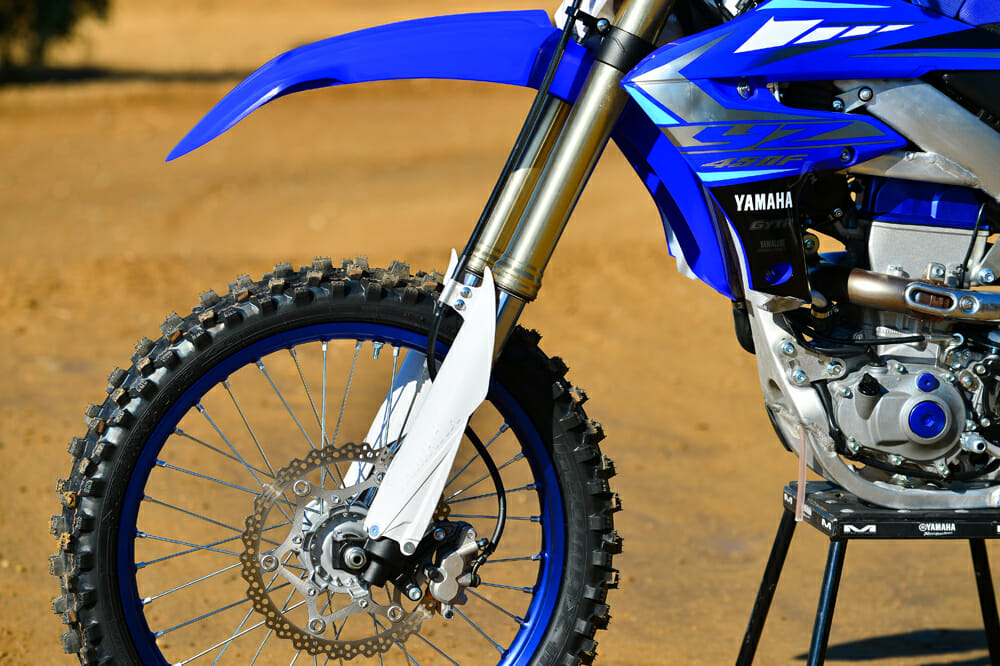 The 2020 Yamaha YZ450F's KYB SSS fork is still a great performer, and the updated front brake offers plenty of power and excellent feedback.