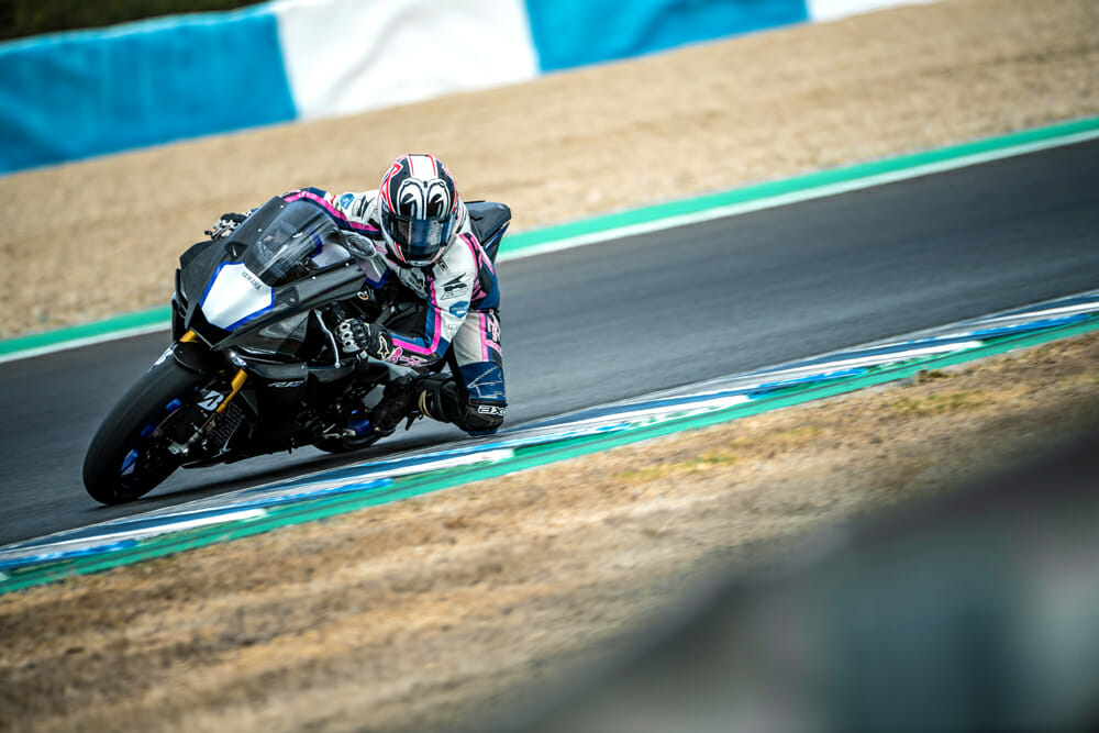Moreda on the gas at Jerez. The R1M proved a more than formidable weapon at the MotoGP circuit.