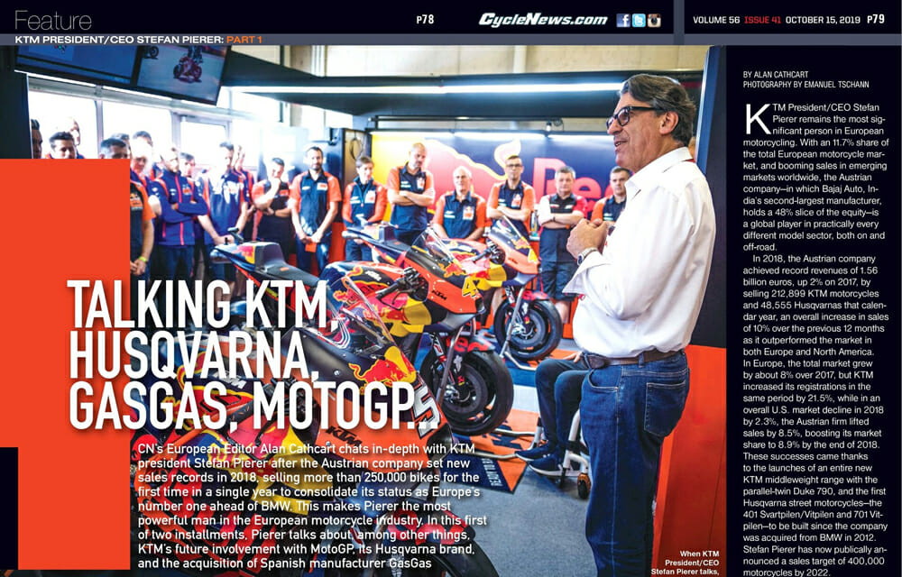 Cycle News interview with KTM President/CEO Stefan Pierer.