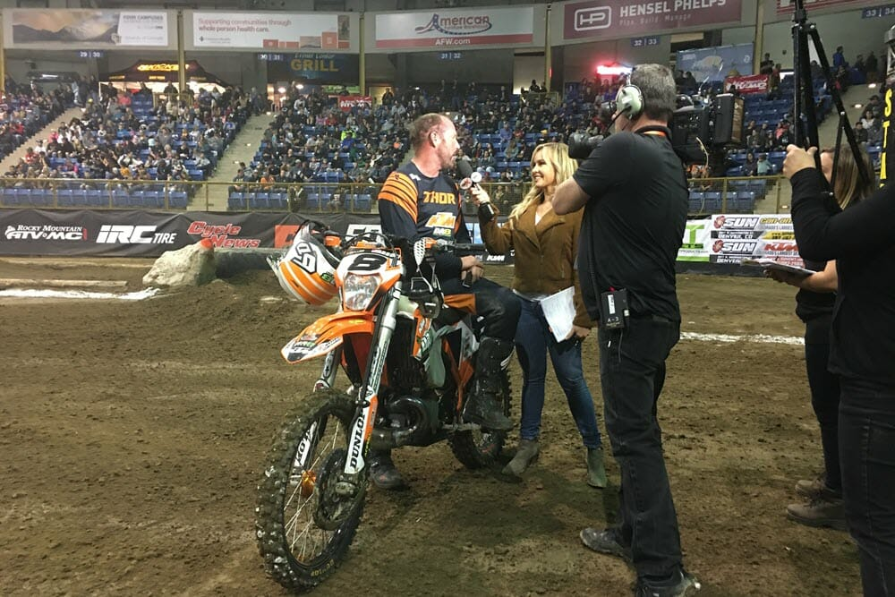 Destry Abbott gets interviewed by Kristen Beat for the FS2 EnduroCross TV show during the Denver EnduroCross round. Each show will include the three Super EnduroCross main events plus a featured support class.