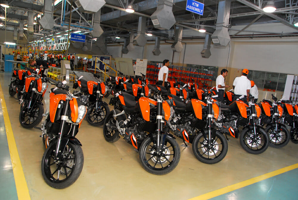 KTM 790 Dukes fresh off the assembly line in India.
