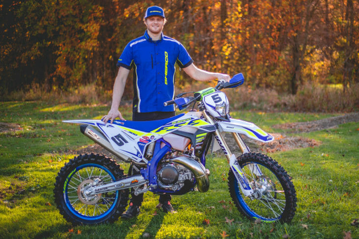 Quinn Wentzel poses with his 2020 Sherco motorcycle