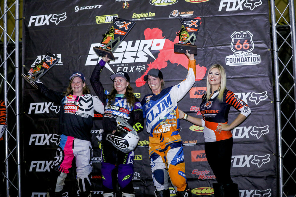 Shelby Turner (center), Rachael Gutish (left) and Maria Hahn shared the Women's class podium for the second race in a row. Photo: Jack Jaxon.