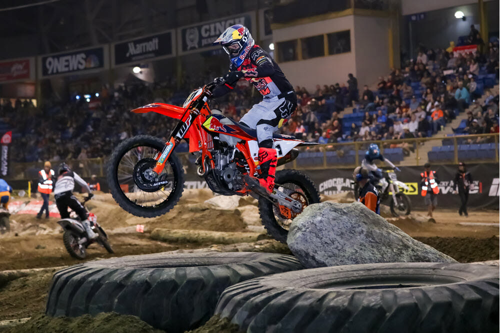 Taddy Blazusiak took his first AMA EnduroCross win since 2014 in Denver to give himself a chance to win his sixth championship if he can beat Colton Haaker again in Boise.