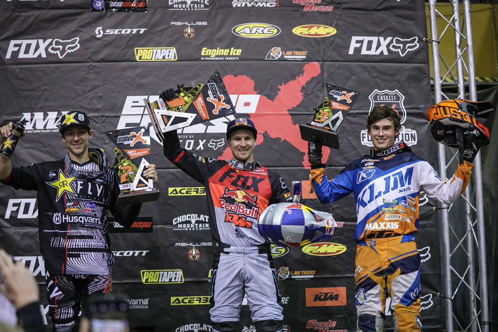 Taddy Blazusiak (center), Colton Haaker (left) and Trystan Hart earned the top three spots after three exciting motos of racing in Denver, Colorado. Photo: Jack Jaxon