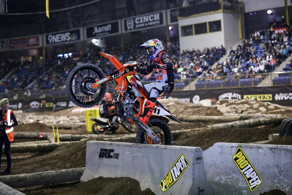 Taddy Blazusiak rode his KTM to the win in Denver with 1-1-2 moto finishes. He closed to within two points of Haaker with just one round remaining next week in Boise, Idaho. Photo: Jack Jaxon