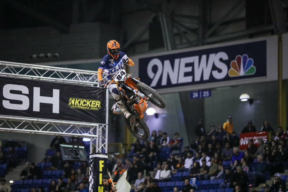 RPM KTM's Trystan Hart had a great night in Denver, taking the final moto win and third overall. Photo: Jack Jaxon.
