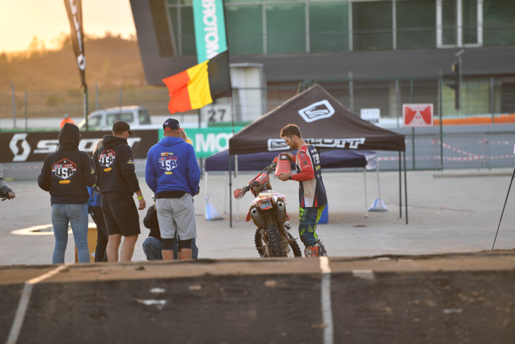 2019 ISDE Portugal Results and News Nate Ferderere day 3 cleaning bike