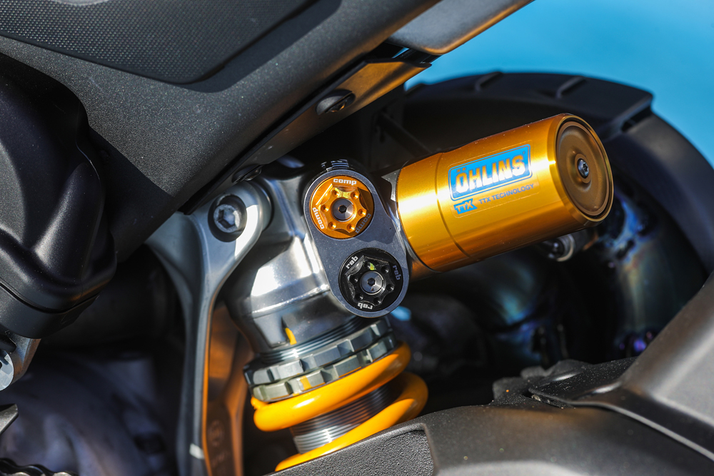 Ӧhlins' Superstock-spec TTX36 race shock provides a stiff but direct feel on the 2019 Ducati Panigale V4 R.