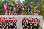 Manuel Lettenbichler (center), won the 2019 Kenda Tennessee Knockout over Mario Roman (left) and Wade Young. Photo: Mary Rinell mjsmotophotos