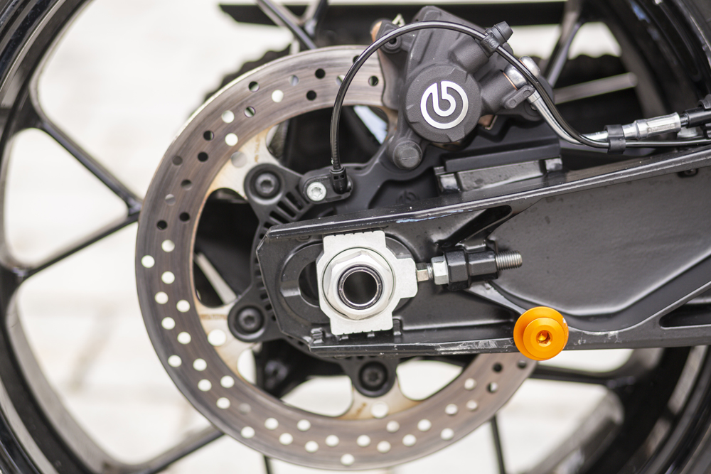 Braking responsibilities on the 2020 KTM 890 Duke R are handled by Brembo.