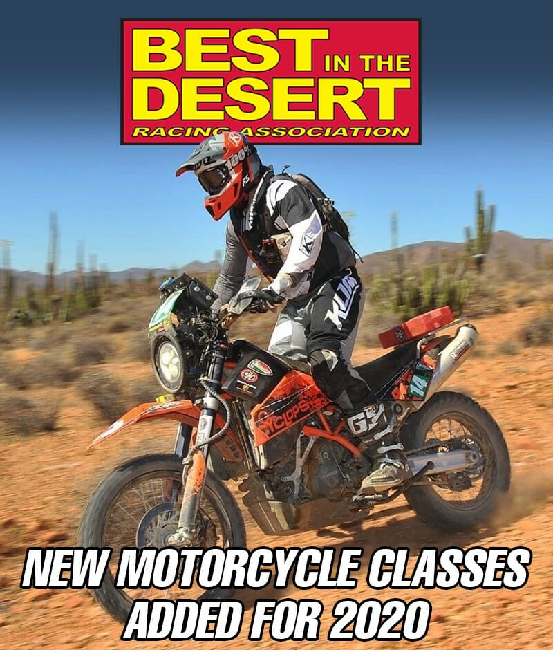 BITD adds Adventure, Ironman Pro, 399cc, Women's, and Family classes to its motorcycle division for 2020.