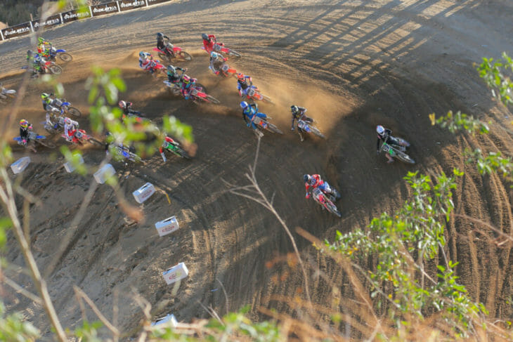 Mike Alessi grabs the holeshot in the second 30+ Pro moto on Sunday at the Dubya World Vet MX Championship.