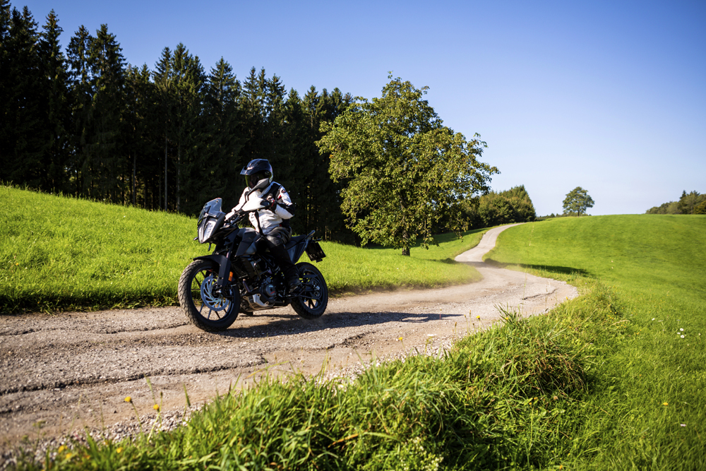 Riding the KTM 390 Adventure Prototype in the countryside