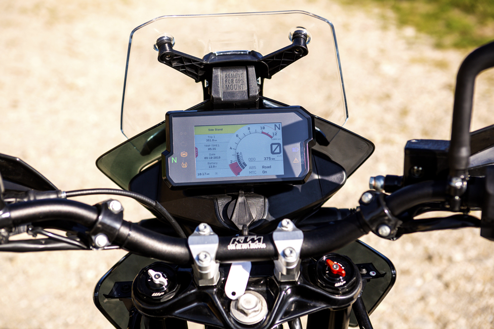 The same dash found in the previous generation Super Duke is fitted to the KTM 390 Adventure Prototype dash
