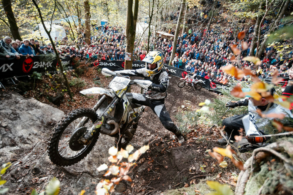 Lars Enockl performs at the eight stop of the World Enduro Super Series in Drebach, Germany on November 2, 2019.