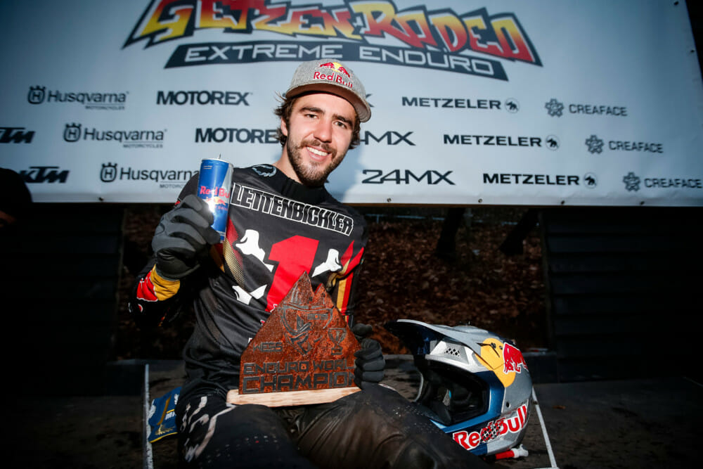 Manuel Lettenbichler poses for a portrait at the eight stop of the World Enduro Super Series in Drebach, Germany on November 2, 2019.
