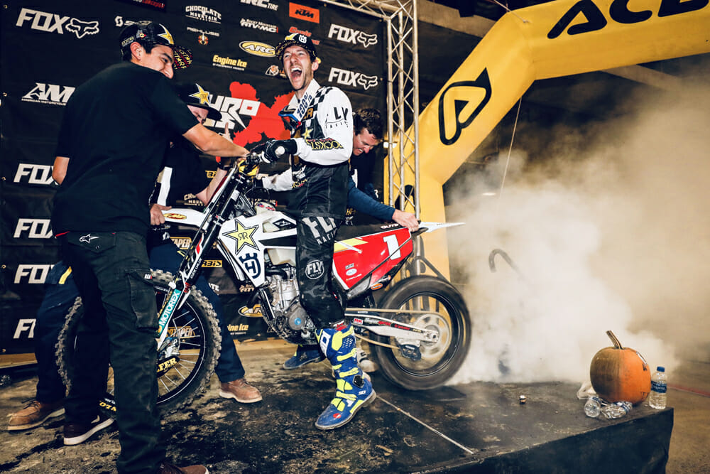 Colton Haaker celebrates another SuperEnduro win.