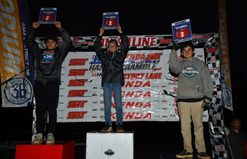 Jett Lessing would take home yet another win in the Mini race but it would be Harley Jeffries who would take home the 2019 AMA West Hare Scramble Mini Championship title.