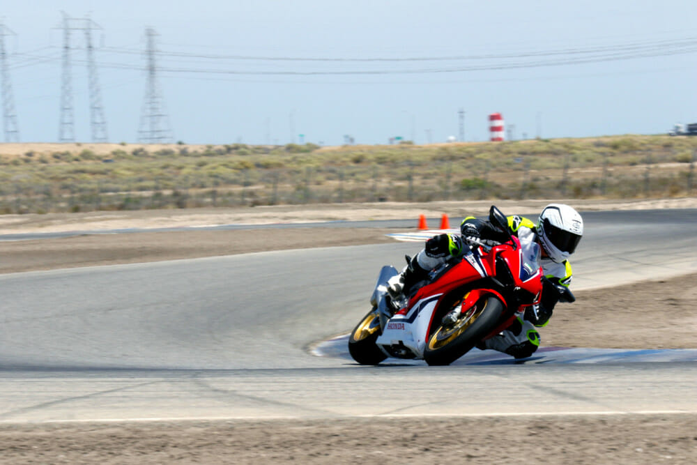 The CBR's superbly smooth throttle connection is very welcomed in Buttonwillow's chicanes.