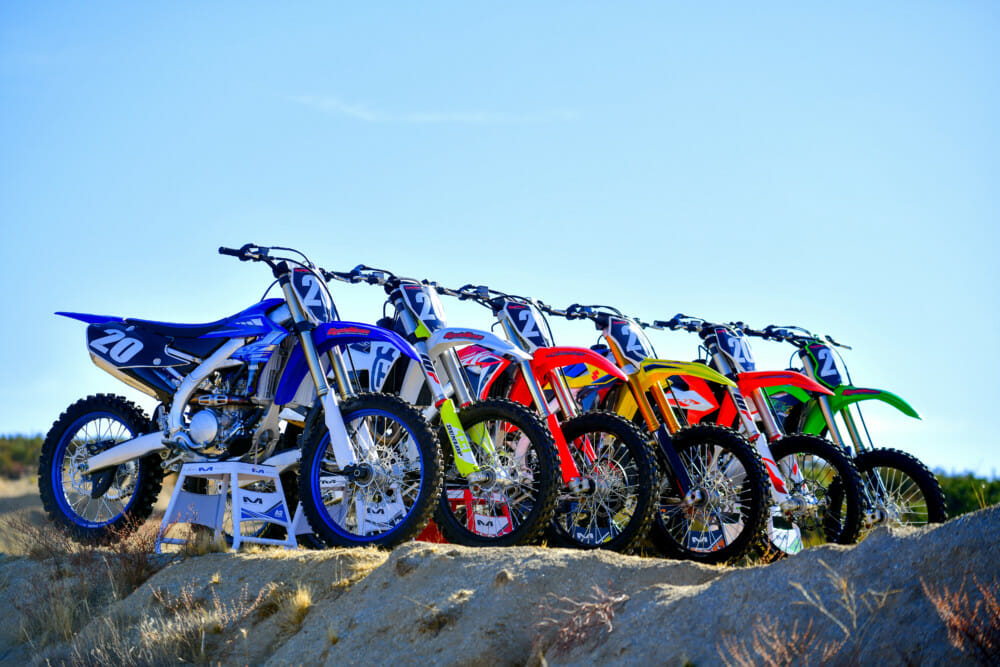 The contenders in Cycle News 2020 250cc Four-Stroke Motocross Shootout