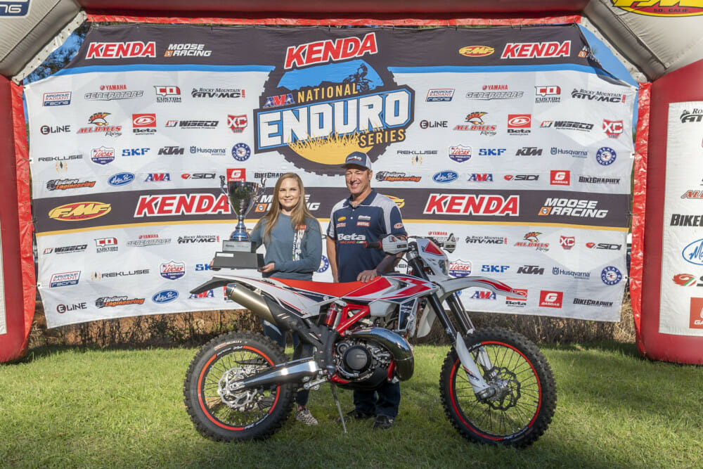 2020 Beta Cup Champion Alexis Phillips with Beta's Rodney Smith and Alexis' new Beta 250rr from winning in 2019.