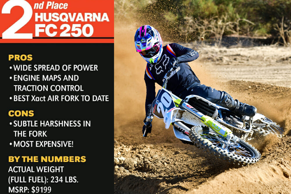The 2020 Husqvarna FC 250 took second place in the Cycle News 2020 250cc Four-Stroke Motocross Shootout
