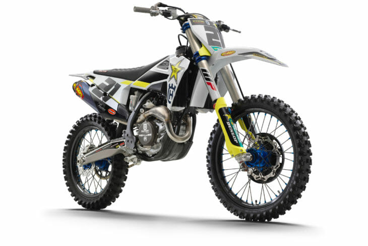 The competition-focused 2020 Husqvarna FC 450 Rockstar Edition features numerous upgrades over the standard FC 450.