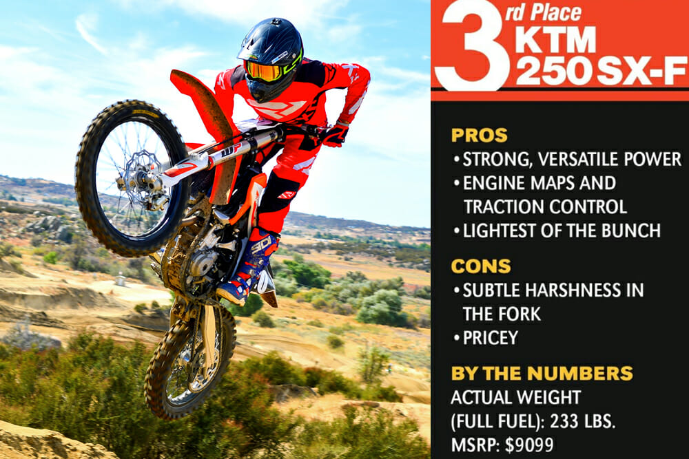 The 2020 KTM 250 SX-F took third place in the Cycle News 2020 250cc Four-Stroke Motocross Shootout