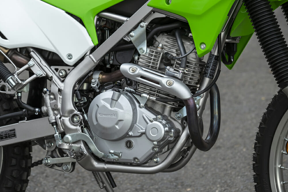 Everything about the 2020 Kawasaki KLX230 is brand-new: frame, engine, suspension, etc.