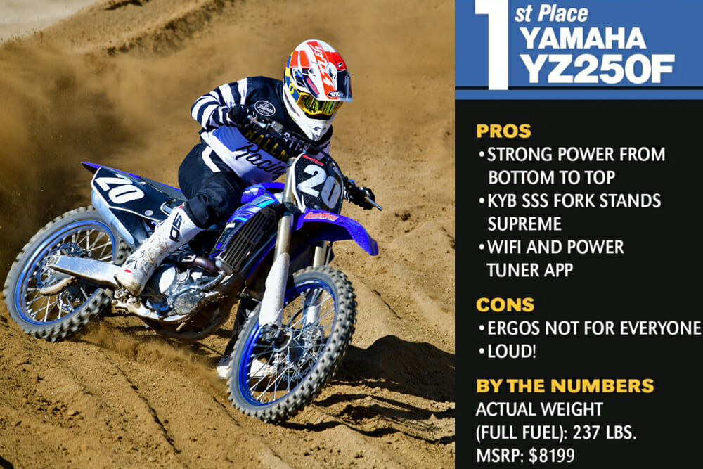 The 2020 Yamaha YZ250F took first place in the Cycle News 2020 250cc Four-Stroke Motocross Shootout