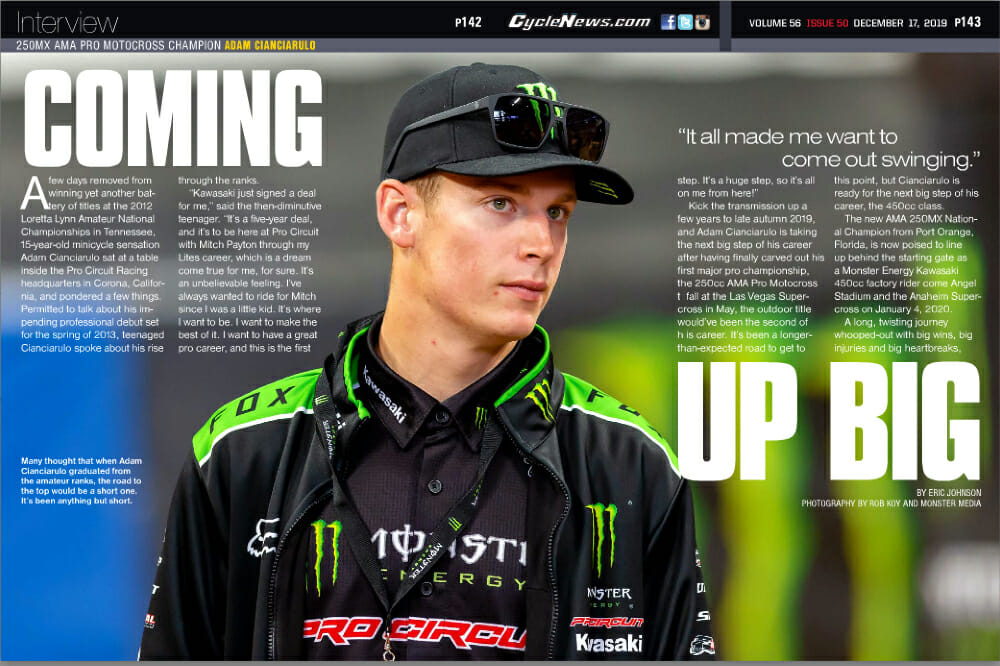 In the Cycle News 250MX AMA Pro Motocross Champion Adam Cianciarulo Interview, we talk to Cianciarulo about his first major pro championship and his move up to the 450cc class.