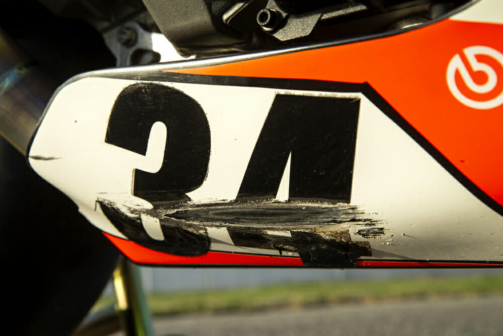 Boulder Park still caused a few scrapes and bumps on the Pikes Peak-Winning Aprilia Tuono 1100 RSV Factory racebike