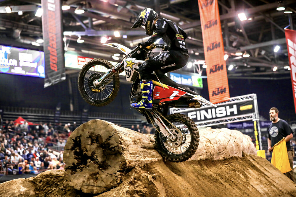 Colton Haaker heads for the win in Boise, where he clinched the EnduroCross championship.