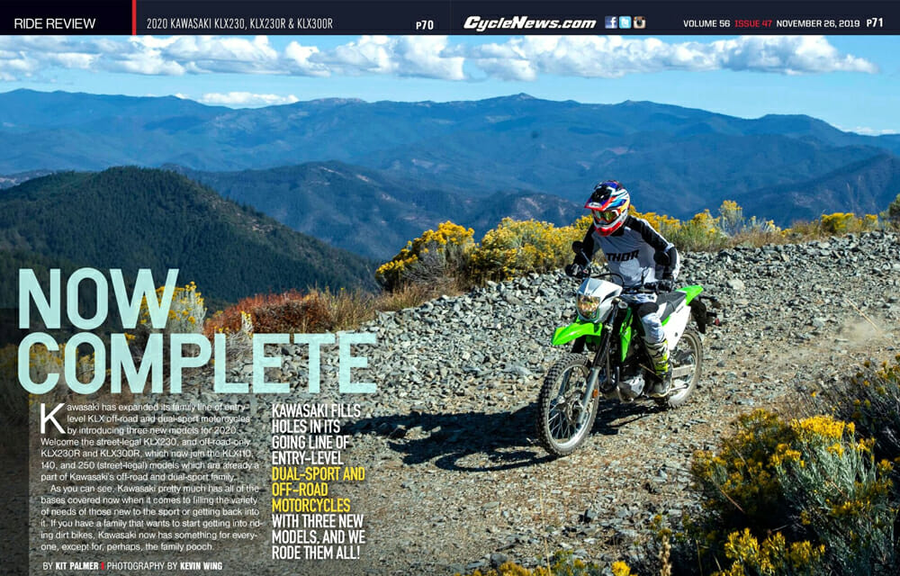 The KLX250 dual sport now has a little brother to play around with in the all-new KLX230.
