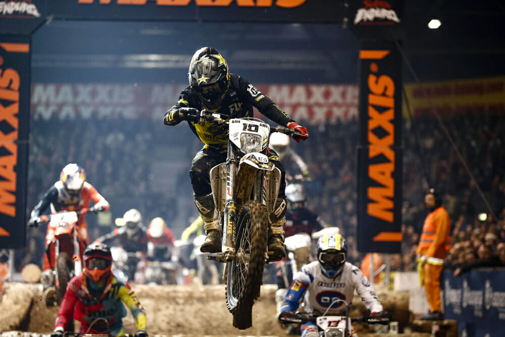 Colton Haaker leads the way at round two of the FIM SuperEnduro World Championship in Germany.
