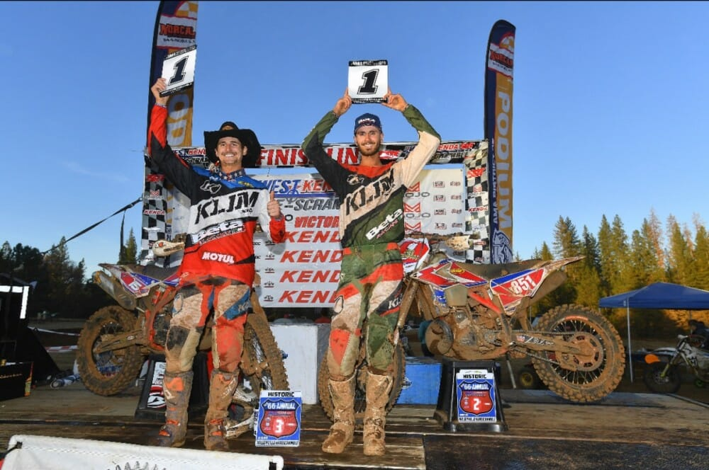 Factory Beta's Max Gerston takes home the 2019 AMA West Hare Scramble Championship title while teammate Zane Roberts takes home the 2019 AMA West Hare Scramble Pro 250 Championship title.
